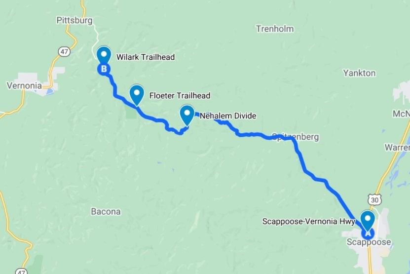 Crown Z CZ Trail Nehalem Divide Floeter Wilark Trailhead Directions Columbia County Oregon
