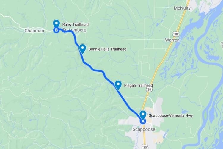 CZ Crown Z Trail Pisgah Bonnie Falls Ruley Trailhead Columbia County Oregon Scappoose