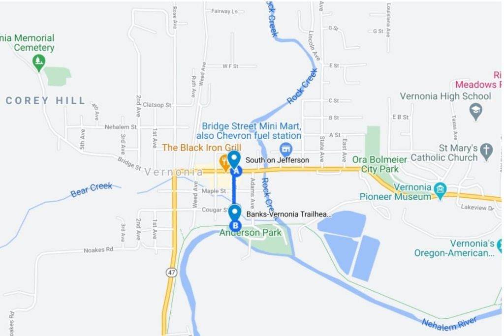 Directions to Banks-Vernonia Trailhead in Vernonia columbia county oregon