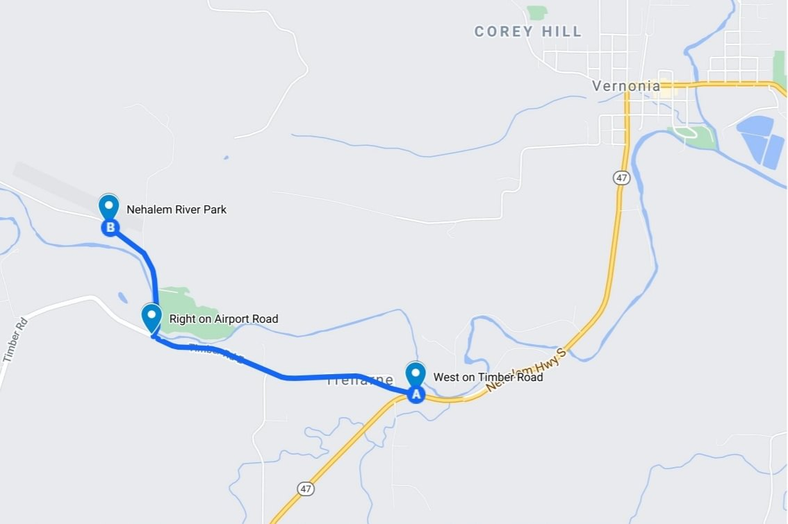 Directions to Nehalem River Park and Campground vernonia columbia county oregon