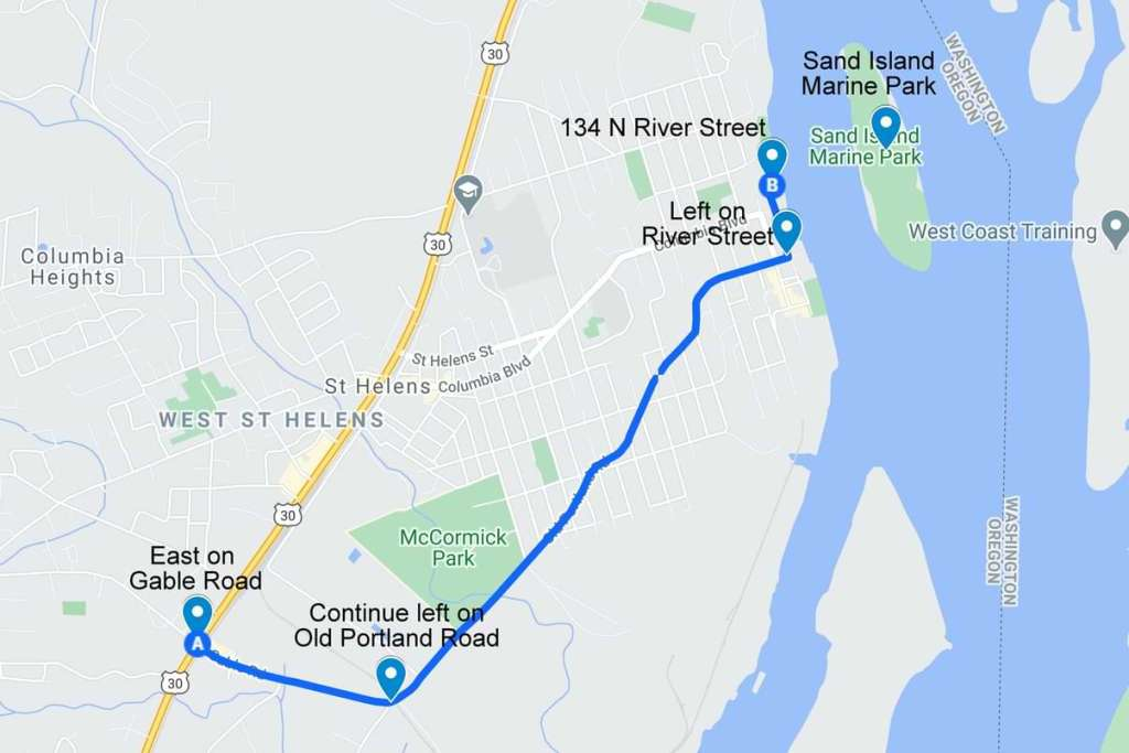 Directions to Sand Island Marine Park st. helens columbia county oregon