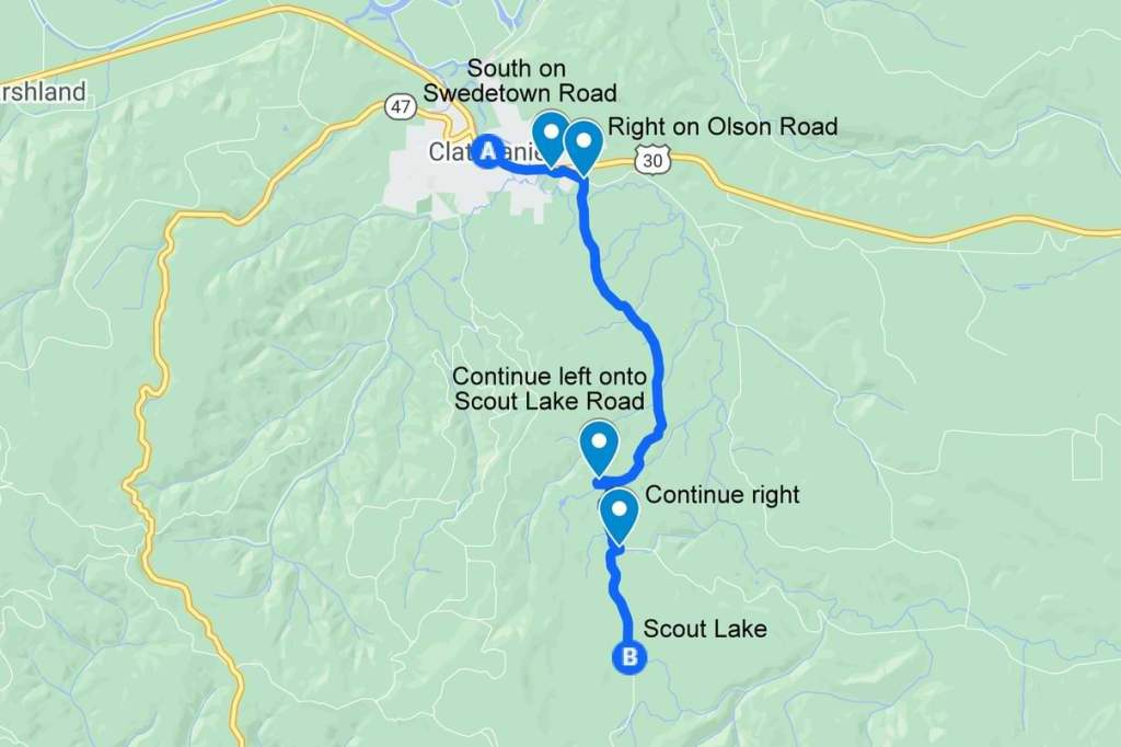 Directions to Scout Lake clatskanie oregon