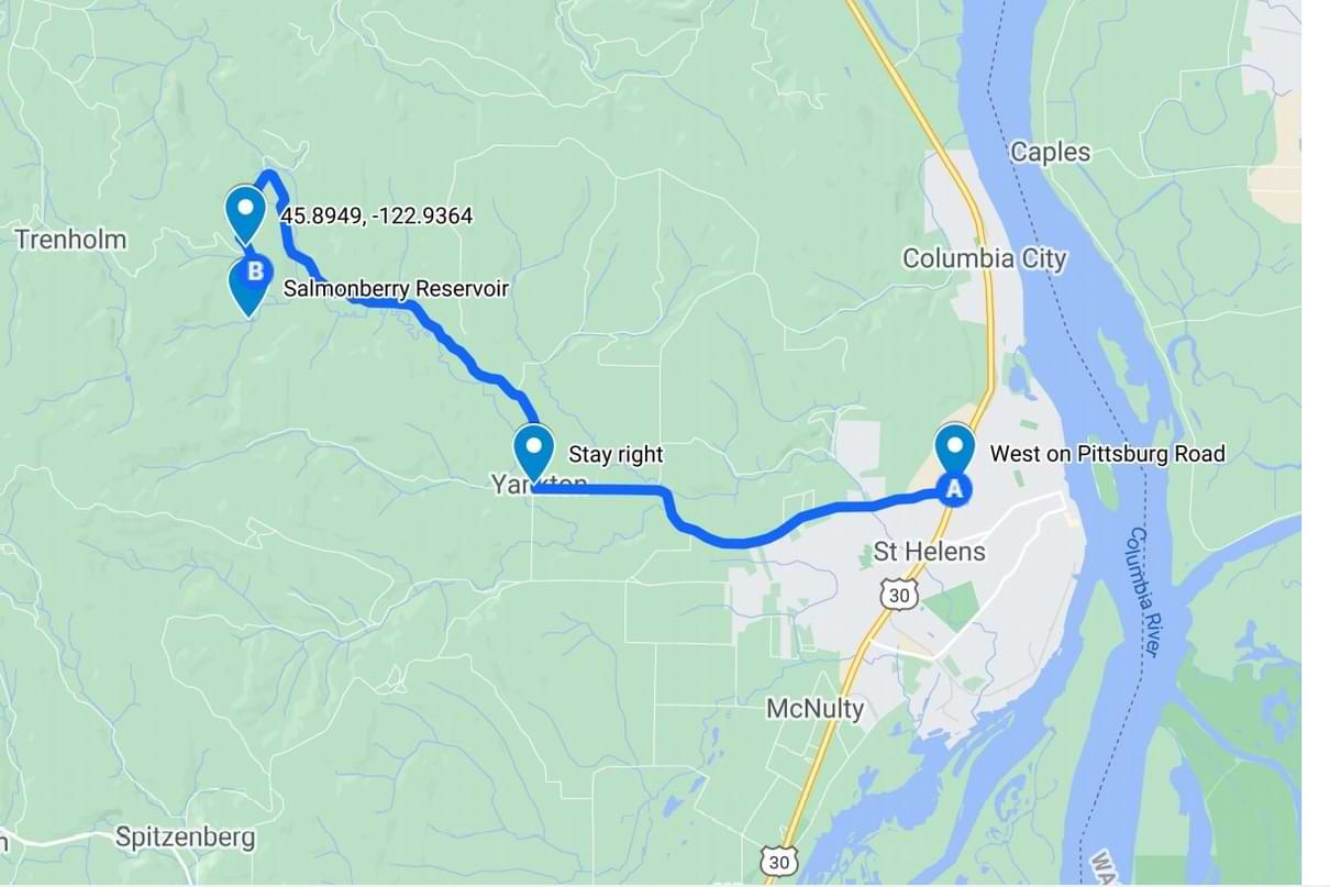 Directions to Salmonberry Reservoir St. Helens Tree Farm Columbia County