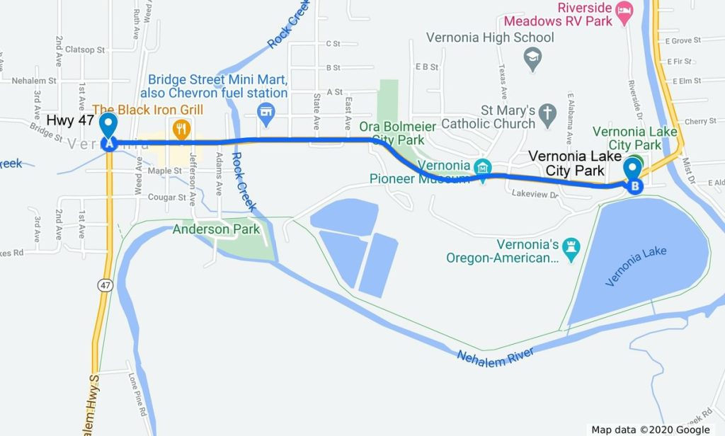 Vernonia Lake City Park directions Columbia County