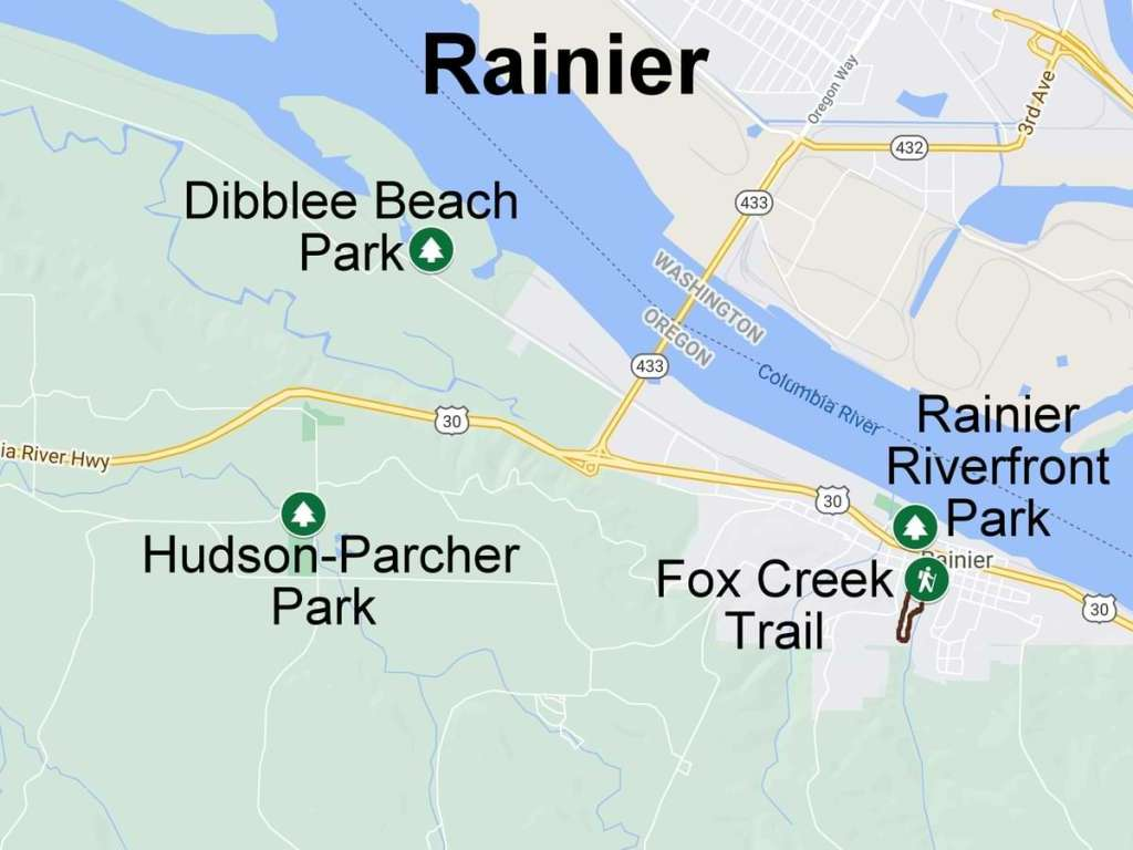 Map hiking camping nature trails wildlife rainier columbia county oregon