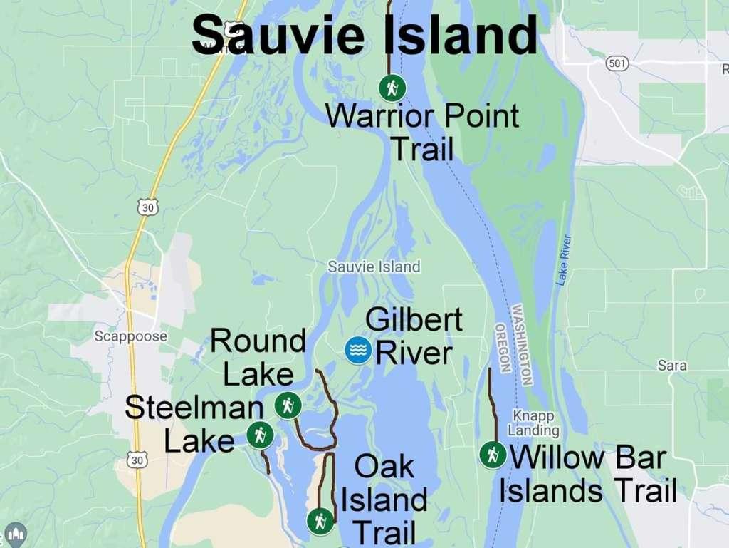 Map hiking camping nature trails wildlife sauvie island columbia county oregon