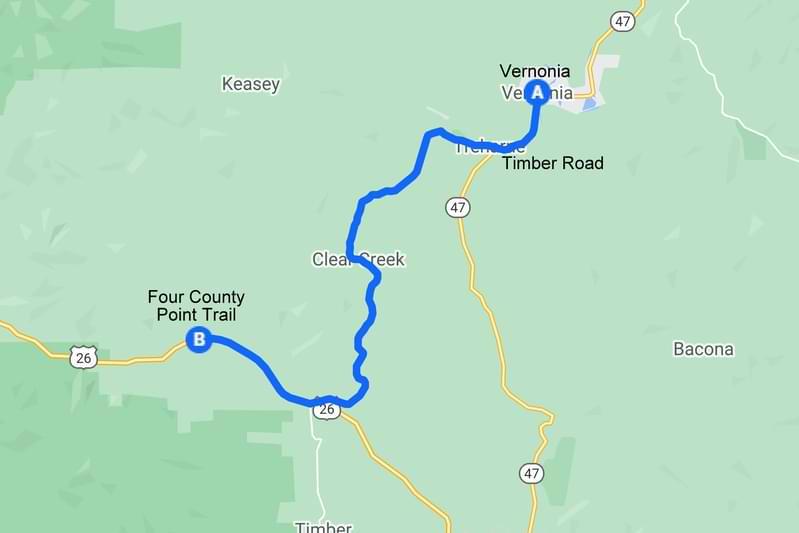 Four County Point trail map northwest oregon