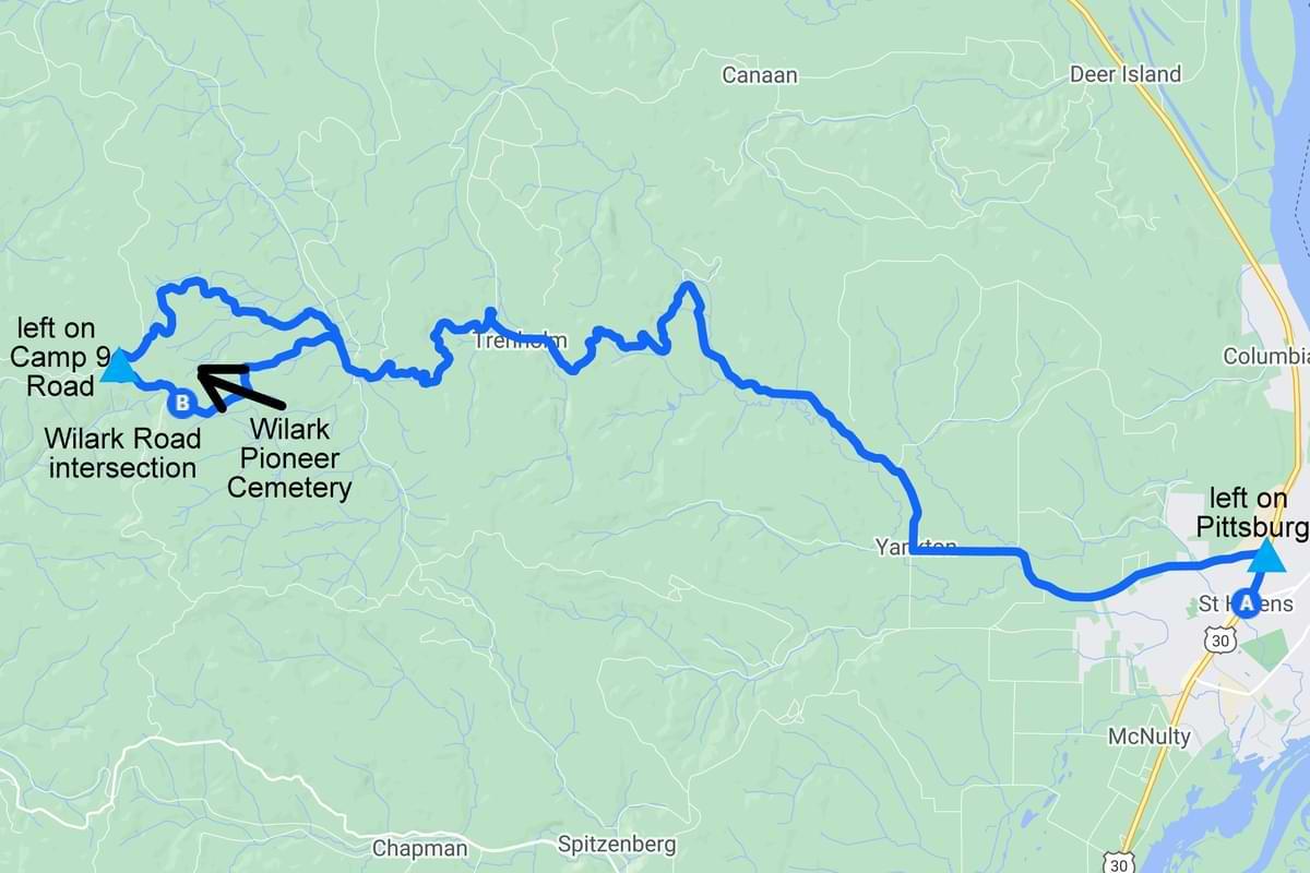 Map to Wilark Pioneer Cemetery columbia county oregon